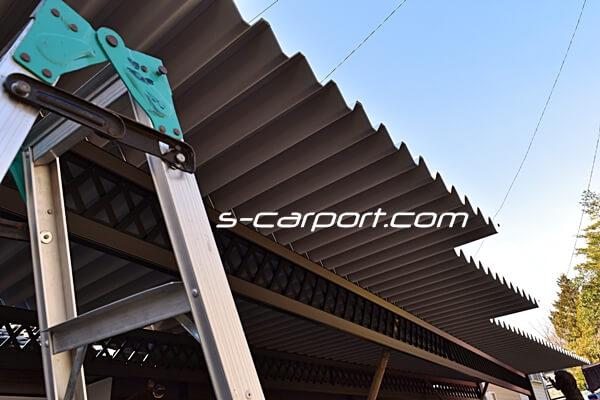 せっぱんカーポート12mペフ付きガルバ屋根