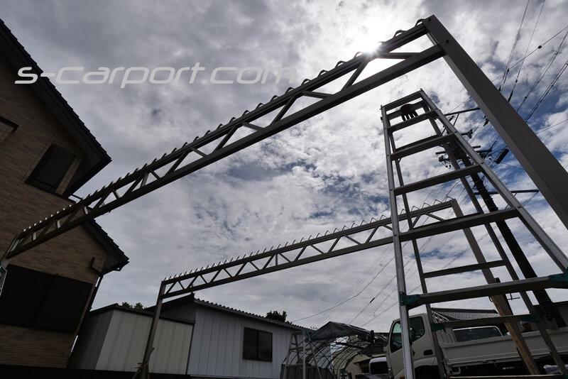 3台用セッパンカーポート 幅7.8mのトラス梁