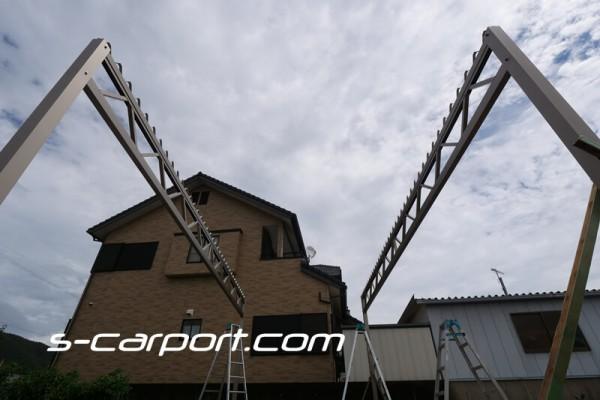 3台用セッパンカーポート 幅7.8mのトラス梁2列