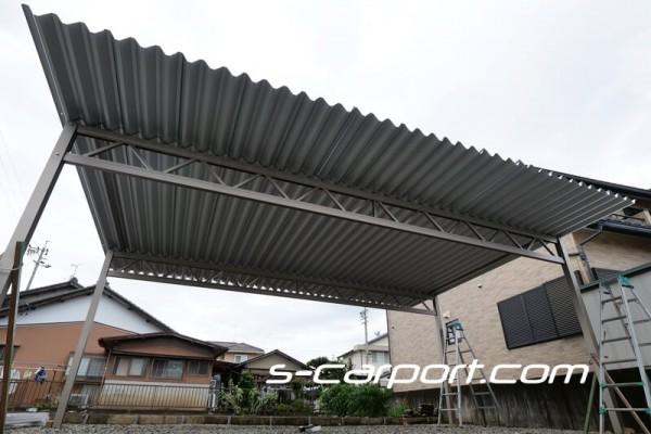 台風にも雪にも強い、3台用セッパンカーポート 岐阜市で施工