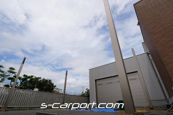 大垣市で2台用セッパンカーポート60-60の支柱建て