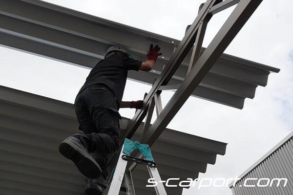 大垣市でセッパンカーポート2台用トラス梁を施工 60-60