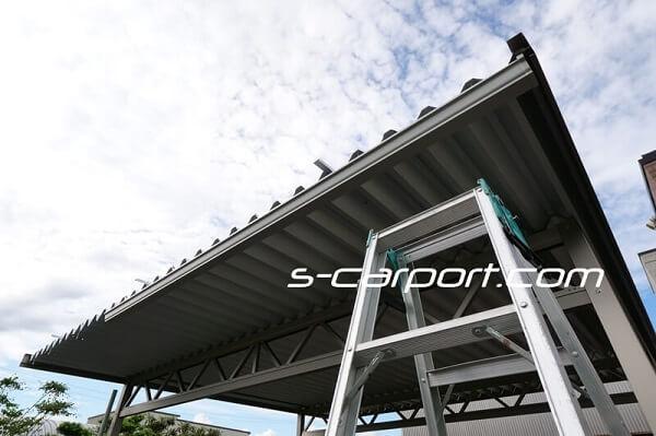 大垣市でセッパンカーポート2台用トラス梁を施工
